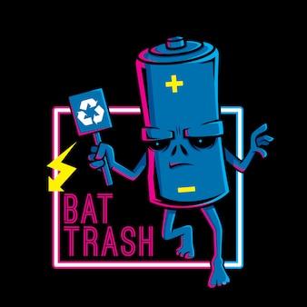 Ilustracja bat trashu chce być gotowym do recyklingu nadrukiem na koszulkę i naklejkę