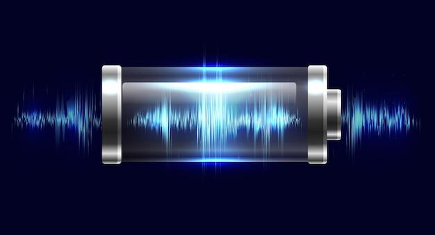 Ilustracja baterii z ładunkiem elektrycznym, rezonansem, impulsem