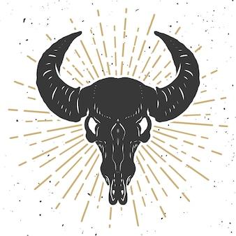 Ilustracja bawolia czaszka na białym tle. element plakatu, godło, znak, koszulka. ilustracja
