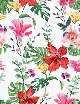 Ilustracja bez szwu kolorowe egzotyczne kwiaty, wzór kwiaty hibiskusa