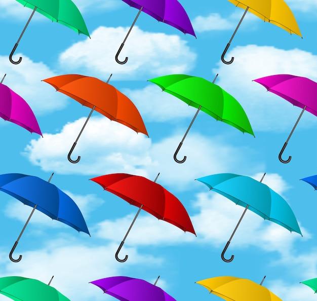 Ilustracja bez szwu kolorowe parasole