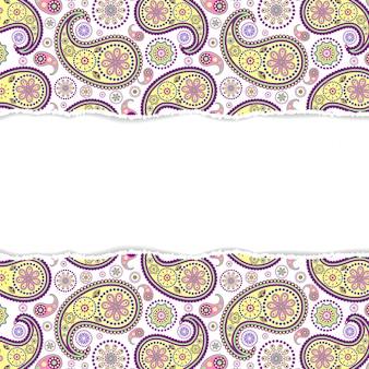 Ilustracja bez szwu paisley wzór z rozdartym papierem