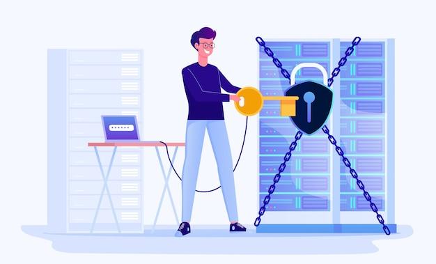 Ilustracja bezpieczeństwa i ochrony centrum danych