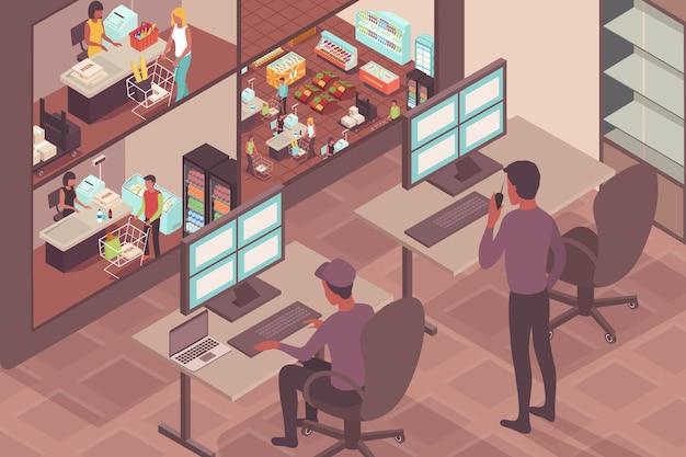 Ilustracja bezpieczeństwa supermarketu ze strażnikami obserwującymi odwiedzających sklep na izometrycznym ekranie monitora