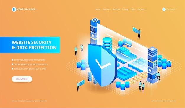 Ilustracja bezpieczeństwa witryny internetowej i ochrony danych