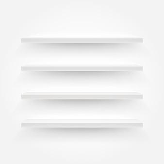 Ilustracja białe puste półki