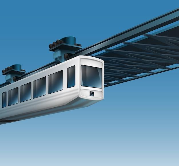 Ilustracja białego wagonu kolei podwieszanej jednoszynowej. na białym tle