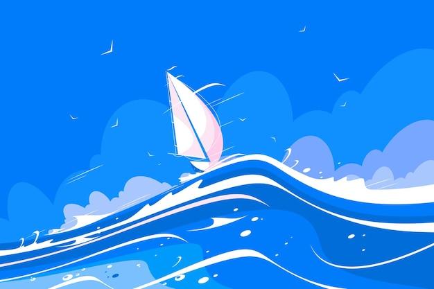 Ilustracja biały jacht żaglowy.