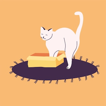 Ilustracja biały kot ukrywa się w pudełku lub koszu. na dywanie.
