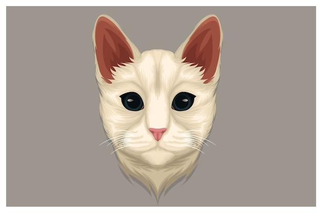 Ilustracja biały kot wpatrując się w coś