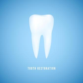Ilustracja biały realistyczny ząb. wyczyść zdrowie trzonowiec. opieka stomatologiczna i tło medycyna odbudowy zębów na niebieskim tle.