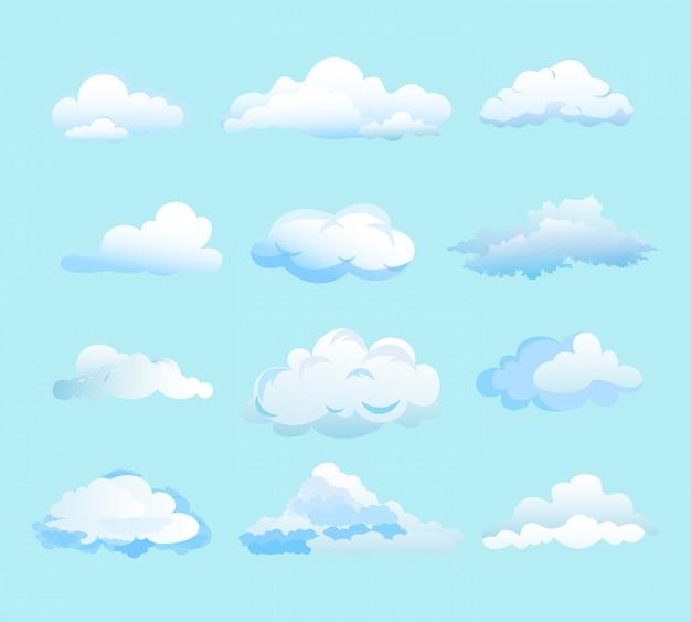 Ilustracja białych chmur na jasnoniebieskim tle w stylu płaskiej kreskówki. różne kształty chmur.