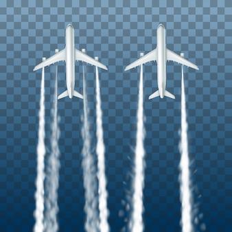 Ilustracja białych dużych samolotów pasażerskich