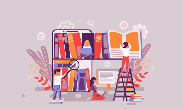 Ilustracja biblioteki książek