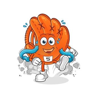 Ilustracja biegacz rękawiczki baseballowej