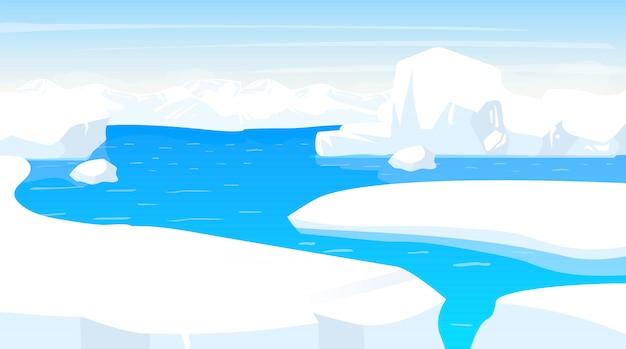 Ilustracja bieguna południowego. antarktyczny krajobraz z krawędziami góry lodowej. biały śnieg panoramiczny ląd z oceanem. scena zimna polarnego. powierzchnia nordycka. mroźny fiord. alaska. arktyka kreskówka tło
