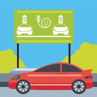 Ilustracja Billboard Ruchu Strefy ładowania Samochodów Elektrycznych Premium Wektorów