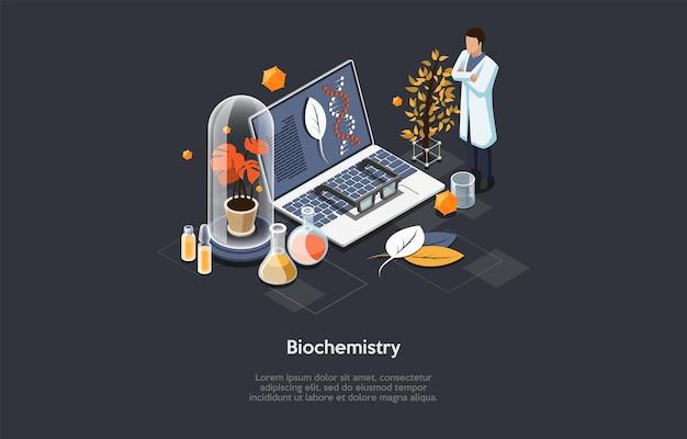 Ilustracja biochemii. izometryczny skład w stylu kreskówki 3d z elementami naukowymi i postacią naukowca w białej szacie