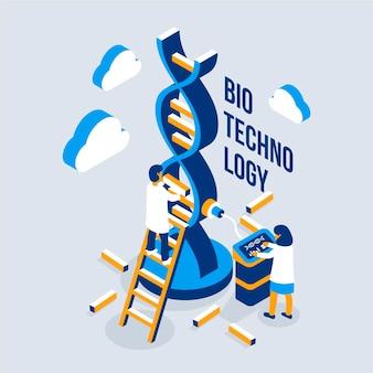 Ilustracja biotechnologii z naukowcami