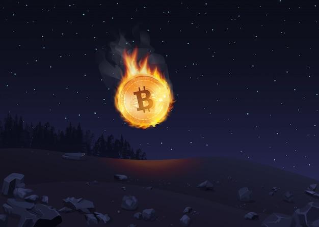 Ilustracja bitcoinów w ogniu spadających na ziemię w nocy.