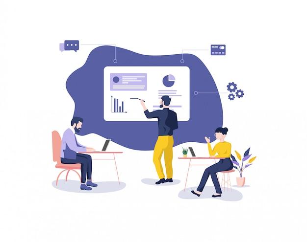Ilustracja biura pracy zespołowej