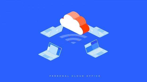 Ilustracja biura przechowywania w chmurze.