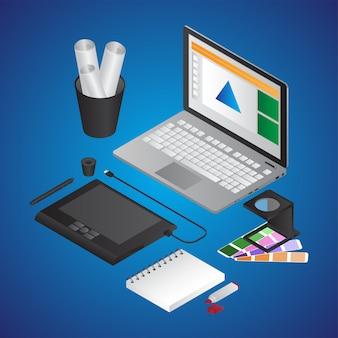 Ilustracja biurko izometryczny projektant