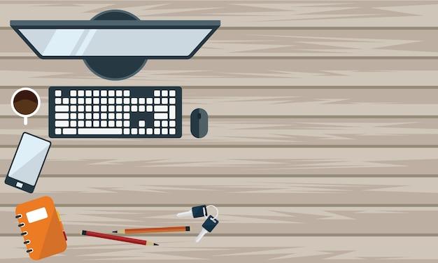 Ilustracja biurowy biurko i stacjonarny w mieszkanie stylu odgórnym widoku