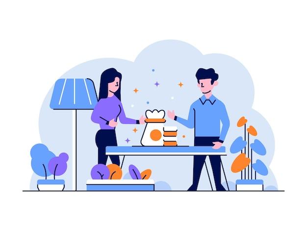 Ilustracja biznes finanse mężczyzna kobieta inwestować pieniądze dochód zysk oszczędzanie płaski zarys styl projektowania