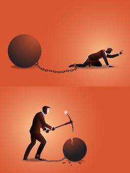 Ilustracja biznesmen czołgania się z żelazną kulą przykuty łańcuchami w nogach, niż próbuje ją zniszczyć kilofem
