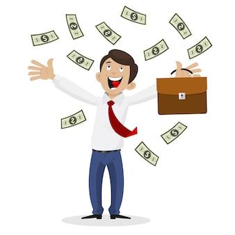 Ilustracja biznesmen dostał ogromną ilość pieniędzy, format eps 10