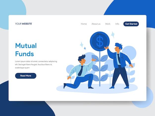 Ilustracja biznesmen i wzajemnych funduszy na stronach internetowych