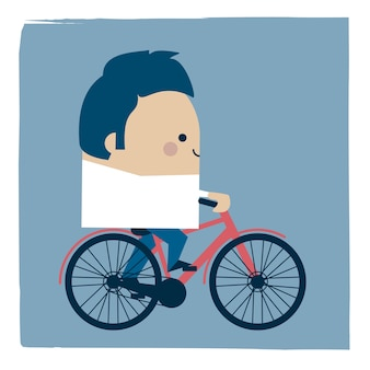 Ilustracja biznesmen, jazda na rowerze