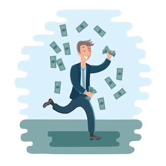 Ilustracja biznesmen kreskówka tańczący mężczyzna z pieniędzmi w ręku