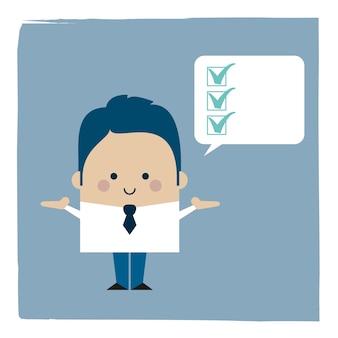 Ilustracja biznesmen listy kontrolnej