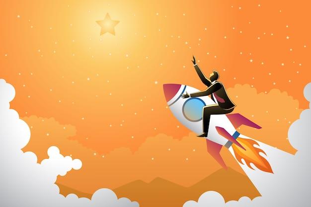 Ilustracja biznesmen na rakiecie spróbować osiągnąć gwiazdę
