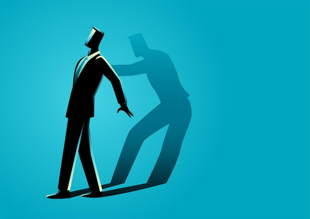 Ilustracja biznesmen popychany przez własny cień, koncepcja motywacji własnej