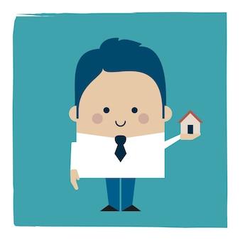 Ilustracja biznesmen posiadający mały dom