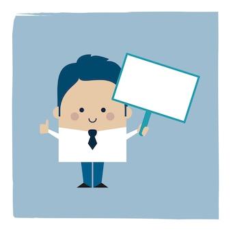 Ilustracja biznesmen posiadający znak