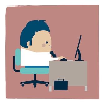 Ilustracja biznesmen pracy w biurze