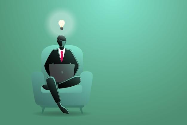 Ilustracja Biznesmen Pracy Z Laptopem Siedząc Na Kanapie Premium Wektorów