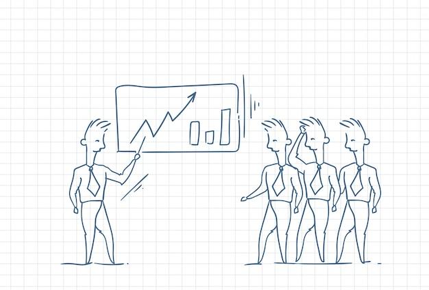 Ilustracja biznesmen przedstawia rezultaty