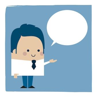 Ilustracja biznesmen rozmawia bańki komiks