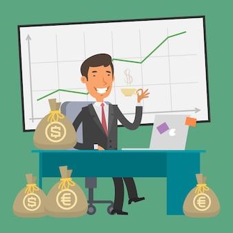 Ilustracja, biznesmen siedzi przy stole i pieniądze, format eps 10