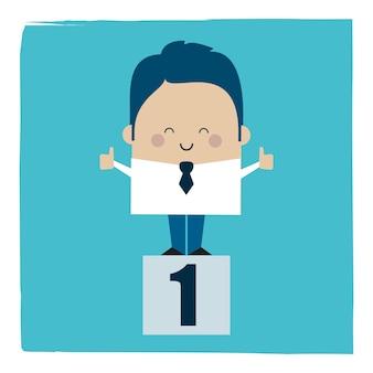 Ilustracja biznesmen szczęśliwy zwycięzca