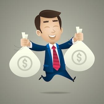 Ilustracja biznesmen trzyma torby z pieniędzmi, format eps 10