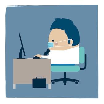 Ilustracja biznesmen ubrany w maskę roboczą