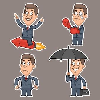Ilustracja, biznesmen w różnych pozach naklejki, format eps 10