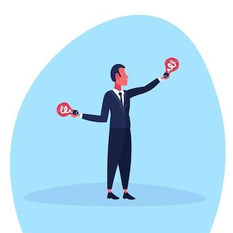 Ilustracja biznesmen z nowymi pomysłami