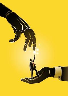 Ilustracja biznesmena dotykającego gigantycznej dłoni androida. pomysł na biznes